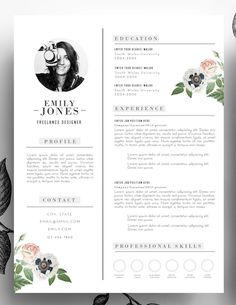 Floral CV template | Modern resume, Floral and Modern