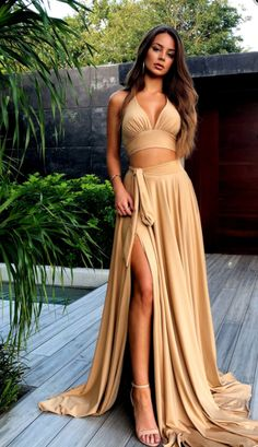 Sexy 2 Pieces Side Slit Long Prom Dress Fahion Long School Dance Dresses Custom Made Long Two Pieces Evening Party Gowns,Prom on Storenvy Evening Party Gowns, Evening Dresses, Formal Dresses, Lila Outfits, Look Fashion, Fashion Outfits, School Dance Dresses, Looks Chic, Long Bridesmaid Dresses