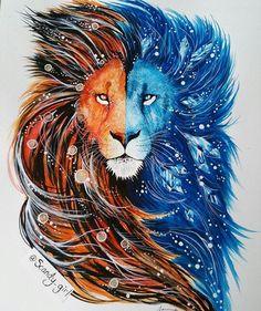 Amazing drawing (or painting) - fire hot lion and ice cold lion