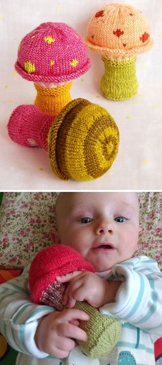 Free Knitting Pattern for Toadstool Baby Rattles - This rattle is knit around a cat ball toy with a bell. About 3 inches in diameter and 4 1/2 inches high. Designed by Purl Soho. Pictured by dramy.