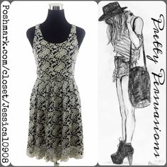 """Floral Lace Sleeveless Scalloped Hemline Dress Floral Lace Sleeveless Dress   Size: Small  Measurements taken in inches: Length: 36"""" Bust: 32"""" Waist: 25"""" (unstretched) Hips: 38"""" Sleeveless  Features:  • full floral lace body • sheer lace at upper back • lined • elasticized waistline • double keyhole accents at back • single button closure at back of neck/single button closure mid back • scooped neckline • scalloped hemline  Cotton/Nylon/Spandex  Condition: Excellent. Worn a couple times. No…"""