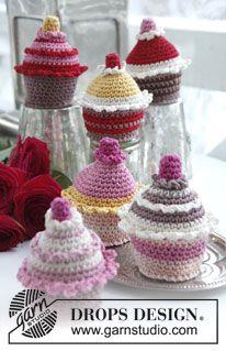 "Heklet DROPS Muffins/Cupcake i ""Muskat"" ~ DROPS Design"