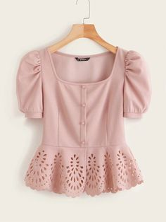 Shop Button Front Puff Sleeve Laser Cut Hem Blouse at ROMWE, discover more fashion styles online. Dressy Tops, Mode Hijab, Plus Size Blouses, Women's Blouses, Types Of Sleeves, Blouse Designs, Trendy Fashion, Fashion Dresses, Fashion Clothes