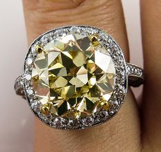 Gorgeous and Rare Estate Vintage Diamond Ring with 5.73ct Transition Round Brilliant Center Diamond EGL USA Certified FANCY LIGHT YELLOW Color $43900