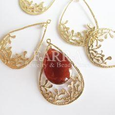 Gold earring dangle 5 pieces teardrop hollow out gold by FARRAgem,   FARRAgem.etsy.com