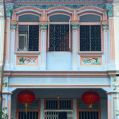 Gorgeous window grill details on this shophouse in my neighbourhood! #joochiat #singapore #louisehilldesign #shophouse #lantern #redlantern #powderblue #vintage #asian #designer