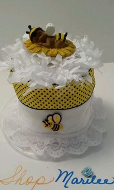 Bumble Bee Baby Mini Shower Diaper Cake African American In