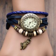 Women Leather Wrist Watch Bracelet Retro Owl Pendant Weave Wrap Quartz