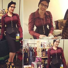 Retro Rack: Gail Carriger at DemiCon in Burgundy & a Pin Striped Corset by Dark Garden Gail Carriger, Custom Corsets, Raspberry Color, Recent Events, Retro Outfits, Leather Gloves, Steampunk, Burgundy, Vintage Fashion