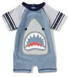 Kapital K Baby Boys Newborn-9 Months Shark-Applique Shortall Affiliate