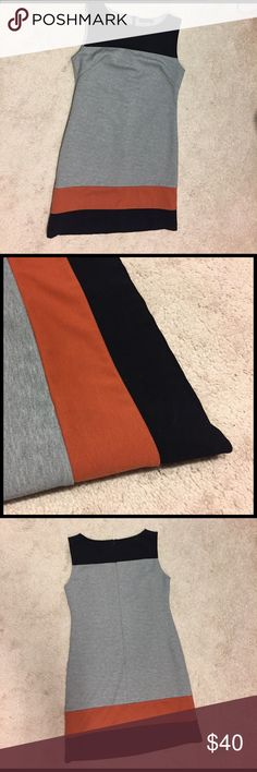 Sleeveless Grey and orange dress Nicely lined, great condition, zip up back, fitted dress with orange and black bands at bottom. THML Dresses
