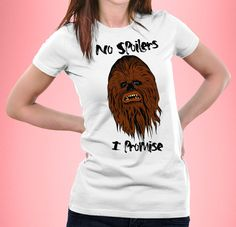 New to CrazyPugPrints on Etsy: Star Wars The Force Awakens - Sad Chewbacca - No Spoilers I Promise - Women& Fitted GBP) Chewbacca, Sad, Star Wars, T Shirts For Women, Fitness, Prints, Etsy, Tops, Fashion