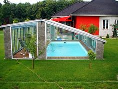 Beautiful Small Indoor Pool Design Ideas You Must Have Swimming Pool Enclosures, Swimming Pools Backyard, Swimming Pool Designs, Lap Pools, Pool Decks, Backyard Pool Landscaping, Backyard Pool Designs, Small Backyard Pools, Backyard Ideas