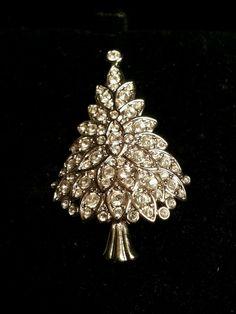 Swarovski Crystal and Silver Christmas Tree Brooch Signed with Original Box | eBay