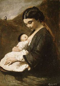 Mother-and-Child  by Jean-Baptiste-Camille Corot (1796 - 1875)