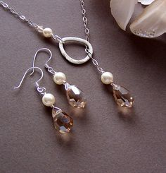 Lariat Necklace and Earring Set  Bridesmaids Gifts by lecollezione, $51.00