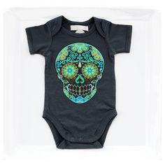 Black Day of the Dead Skull Baby Clothes Rockabilly Tattoo kids Trendy girl boy 3, 6, 12 months Punk Baby Shower Gift Tattoo hippie bodysuit by BonesNelson on Etsy https://www.etsy.com/listing/227986502/black-day-of-the-dead-skull-baby-clothes