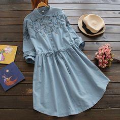 Купить Японский стиль мори девочка цветок вышитые шнурок хлопок льняное платье с…