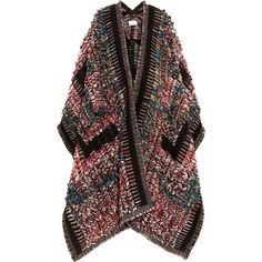 Chloé Wool-blend bouclé-jacquard poncho (38.971.225 IDR) ❤ liked on Polyvore featuring outerwear, coats, jackets, cardigans, poncho, travel poncho and style poncho