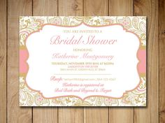 """Bridal Shower Invitation Template - Gold Blush Pink """"Chic Paisley"""" - Instant Download Bridal Luncheon Template - Beach Wedding Shower"""