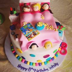 Slumber Party Birthday Cake by Bella Christie and Lil' Z's Sweet Boutique #popcorn #makeup #nails #sleepover #girls #TeenBeachMovie #pink