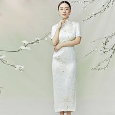 Luxury Silk Qipao Floral White Burnt-out Gauze Double Trim