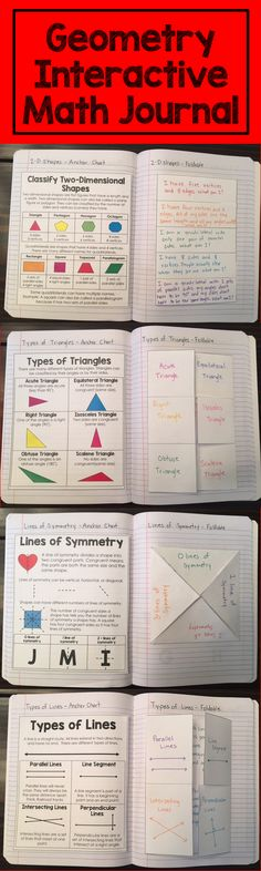 This interactive math journal focuses on key geometry skills. Students learn about lines of symmetry, classifying two-dimensional shapes, types of triangles, and types of lines. Each topic includes a mini anchor chart for reference, a foldable, an extension activity, and a quick check.