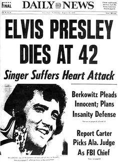 Elvis Presley died August 16 1977 in his Memphis home (Graceland). He was found collapsed on his bathroom floor from an apparent massive heart attack. Although it is thought that drugs played a role in his death. He was 42. RIP MY FRIEND !!!!! <3