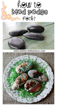 How to mod podge rocks with Spring or Summer garden magazines.