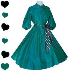 Vintage 50s Teal Blue Green Taffeta FULL SKIRT Party Prom Dress M L Rockabilly