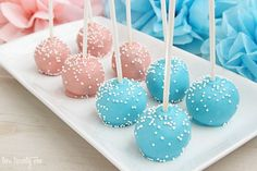 I have to admit, I had never made cake pops before but I was determined to make them for our gender reveal party.  I ve made Oreo truffles multiple times, which are somewhat similar to cake pops.  Somewhat.  They re basically the cookie version of cake pops.  Basically dessert cousins.