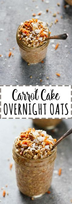 Carrot Cake Overnight Oats - Vegan, vegetarian, gluten free, refined sugar free, and so easy Breakfast On The Go, Best Breakfast, Breakfast Recipes, Breakfast Ideas, Vegan On The Go Breakfast, Vegan Snacks On The Go, Breakfast Smoothies, Overnight Oatmeal, Overnight Breakfast
