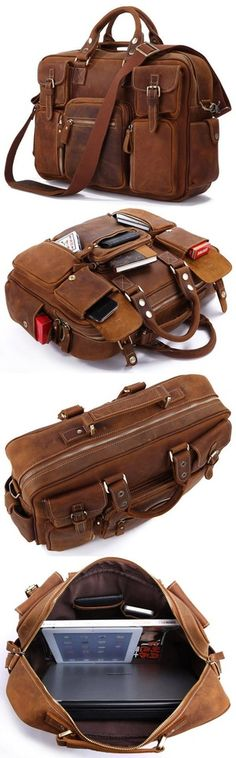 Handmade Vintage Leather Business Travel Bag / Messenger / Duffle Bag / Weekend Bag