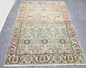 Vintage Oushak Rug Turkish Handwoven Pale Color Rug Carpet 7.3' x 4.8' feet Pastel Color Tones  Kitchen  Livingroom  Saloon