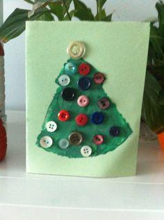 Postal navideña. Témpera y botones .