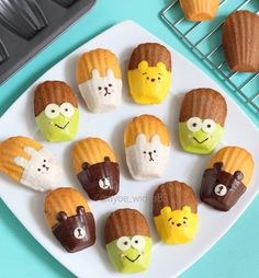 Character Madeleines by Cute Snacks, Cute Desserts, Cute Food, Sweet Cakes, Cute Cakes, Bakery Recipes, Baby Food Recipes, Baking Classes, Dessert Decoration