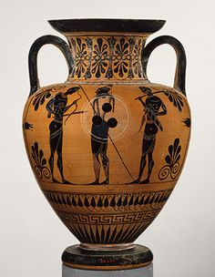 In the Trojan War, Memnon, the son of Tithonos and Eos, goddess of the dawn, led a contingent of Ethiopians allied with the Trojans. He was killed by Achilles in a duel watched by their mothers. Neck-amphora (jar) [Greek, Attributed to an artist near Exekias] (98.8.13) | Heilbrunn Timeline of Art History | The Metropolitan Museum of Art