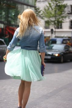 Teal skirt and Denim top