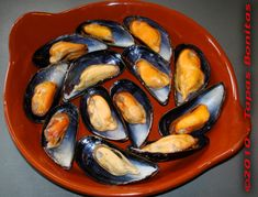 Photo of cooked mussels.