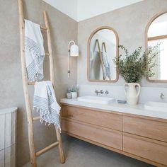 Kyal and Kara ( Coastal Bathrooms, Boho Bathroom, Bathroom Inspo, Bathroom Styling, Bathroom Interior Design, Bathroom Inspiration, Interior Decorating, Bathroom Ideas, Natural Bathroom