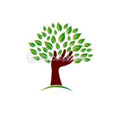 Hand on ecology awareness image. Concept of tree hand, environment safe, plant a tree. Vector image — Stock Illustration #47788443