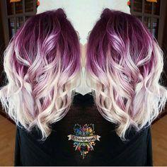 Plum purple base with billowy white blonde hair by @hairbykaseyoh #hotonbeauty #hothairvids