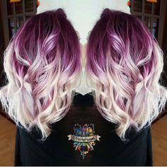 Plum purple base with billowy white blonde hair by @hairbykaseyoh #hotonbeauty #hothairvids