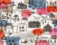Wow! Look at this cool #illustratedmap of downtown Victoria BC by @meghannrader Meghan has such a great style. #ExploreVictoria !