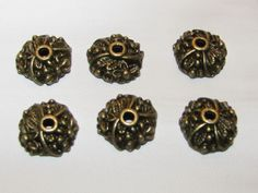 Six 6 Flower Bead Caps Bronze by BethsMelange on Etsy, $3.00