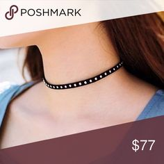 coming ,,,.BLACK THIN CHOKER WITH SILVER SML STUDS Cute! Trendy! Be fashionable with this choker! A slight edgy look but not so harsh. Spice up any outfit or look by adding this one piece to it. Black thin choker with silver studs. -No trades 51twenty Jewelry Necklaces