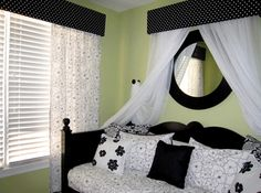 Black and White w/ green- Bedroom