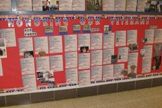 The kids bring in pictures of their Veterans and we post them by branch of the military that they served in - a breathtakingly patriotic tribute!