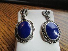 Vintage Art Deco 925 Sterling Large Genuine Lapis Lazuli Gemstone & Marcasite Stud Dangle Earrings 1 1/2 Inches Long, Wt. 9.6g by TamisVintageShop on Etsy