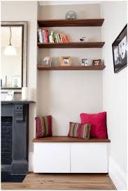 4 Wondrous Diy Ideas: How To Build Floating Shelves Bookcases farmhouse floating shelves sinks.Floating Shelves Nursery Decor single floating shelf home.White Floating Shelves With Lights. Alcove Ideas Living Room, Living Room Shelves, Living Room Storage, Home Living Room, Living Room Designs, Living Room Decor, Alcove Decor, Alcove Seating, Corner Seating